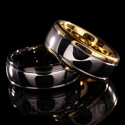 8MM Gold Silver Black Dome Tungsten Carbide Wedding Bridal Band Men Jewelry Ring