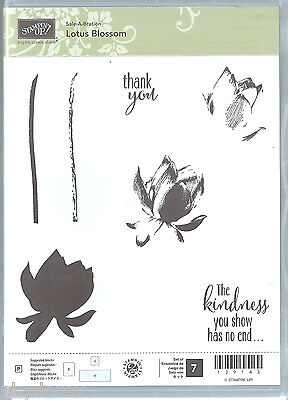 New Stampin' Up! LOTUS BLOSSOM 2015 3-Step Flower Thank You Set/7 Clear Stamps