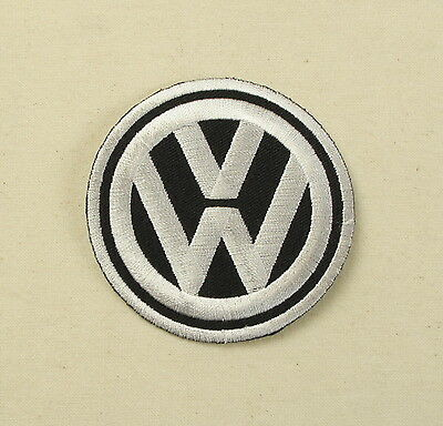 VW Iron or sew on embroidered patch Black  Large split bay camper golf polo