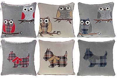 """OWL SCOTTIE DOG CUSHION COVERS WOOL CUSHIONS 18""""x18"""" RED BLUE GREY NATURAL"""