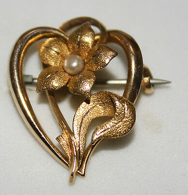 100% Genuine Vintage 15ct Gold Brooch With Seed Pearl .