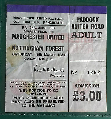 1988-89 MANCHESTER UNITED V. NOTTINGHAM FOREST - FA CUP 1/4 FINAL- MATCH TICKET
