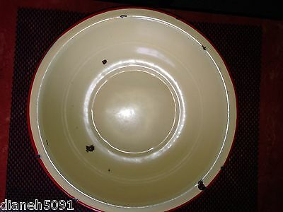 "Vintage 13"" LARGE Yellow & Red  Enameled Wash Basin/Mixing Bowl Primative"