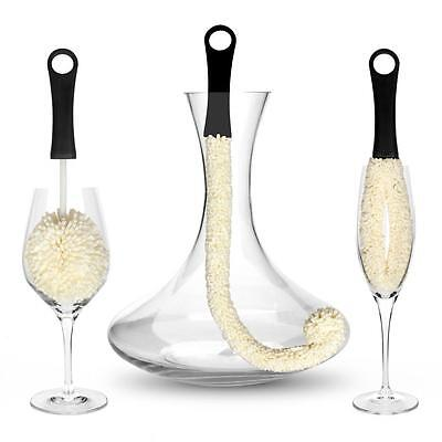 Bar Amigos Set of 3 Cleaning Brush Wine Glasses Decanters Champagne Flutes Vases