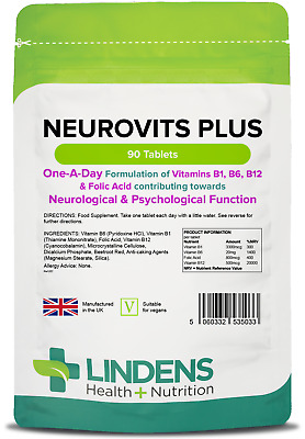 Neurovits Plus (90 Tablets) Vitamin B1, B6, B12, Folic Acid  [Lindens 5033]