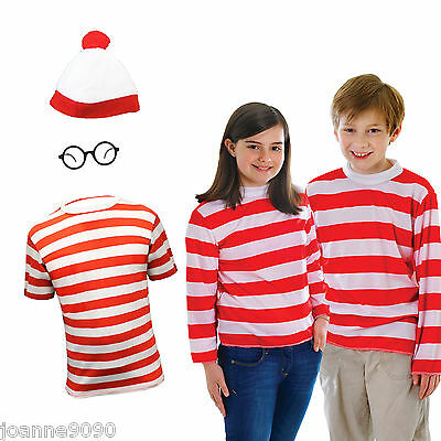 *Boys Girls Red and White Striped Top Fancy Dress Costume Book Day Outfit*
