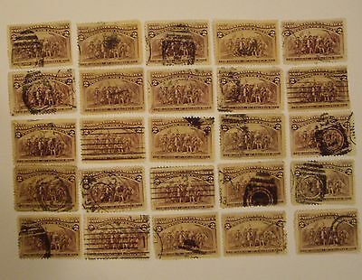 U.S. LOT of *(25)  USED Sc#231 2c Columbian issue *Various Cancels See Pic