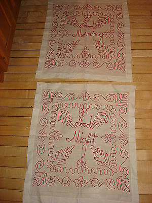 Antique TURKEY RED EMBROIDERED PILLOW COVERS Good Night, Good Morning