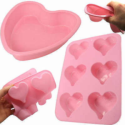 PINK SILICONE HEART BAKING TRAYS Large Cake Mould / Deep Muffin Tray Fairy/Pan
