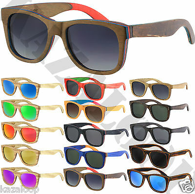 Wood Bamboo Frame Hand Made Mirror Gradient Polarized Lens Sunglasses Square