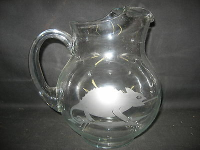 NEW ETCHED CHAMELEON GLASS PITCHER