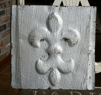 "12"" Antique Tin Ceiling Tile -- Rusty Silver  Colored Paint -- Fleur De Lis - A3"