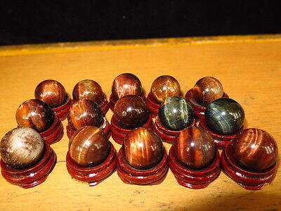 Hi-Q!!! 15 NATURE red TIGEREYE SPHERE CRYSTAL BALL Healing + stand ! 259g