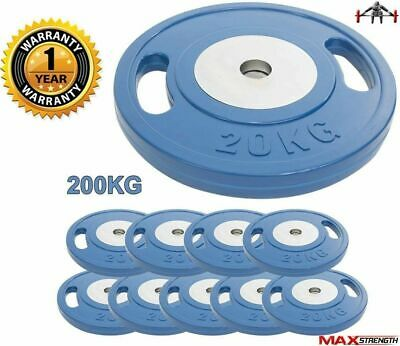 """Olympic Rubber Weight Plates 2"""" Disc Grip Dumbbell Barbell Fitness Training Blue"""
