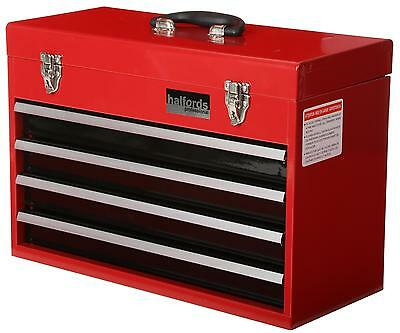Halfords Professional Tool Chest Red 4 Drawer Metal Portable Friction Slide