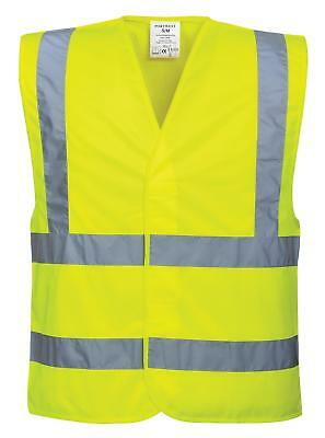 Portwest Hi Vis High Visibility Vest Large Yellow Polyester Waistcoat Safety