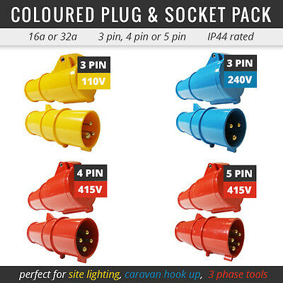All Coloured Plug And Socket Pack For Extension Lead 16A-32A 110V-415V Connector