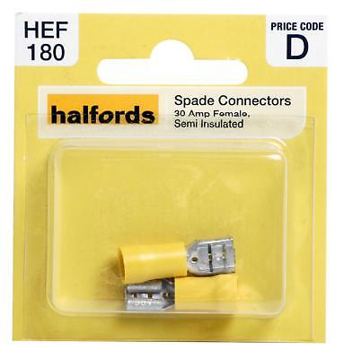 Halfords HEF180 Spade Connectors Pack 2 Pieces 30 Amp Female Semi Insulated