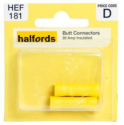 Halfords HEF181 Butt Connectors Pack 2 Pieces 30 Amp Insulated Terminal Wiring