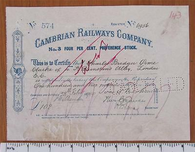 1900 Share Certificate Cambrian Railways Company No.3  4% Preference Stock £102