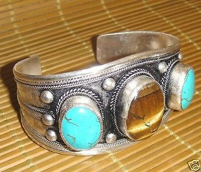 Charming! Tibet Silver Turquoise & Turquoise Beads Cuff Bracelet