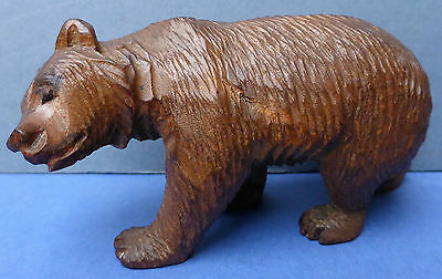 Lovely Antique Walking Black Forest Bear Carved Wood 1920s Very Detailed