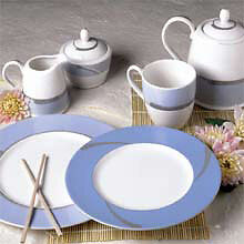 NORITAKE-AMBIENCE BLUE-ACCENT LUNCH PLATE(S) 9.5 Inches