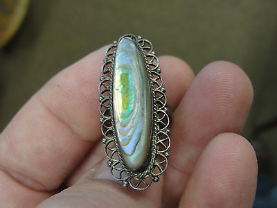 Vintage Sterling Silver & Abalone Fancy Design Ring Band Size 4 1/4 - 4 1/2