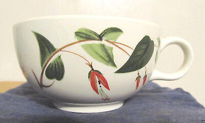 EXC COND Vintage Red Flowers Grn Leaves Stangl Coffee Cup hand painted USA