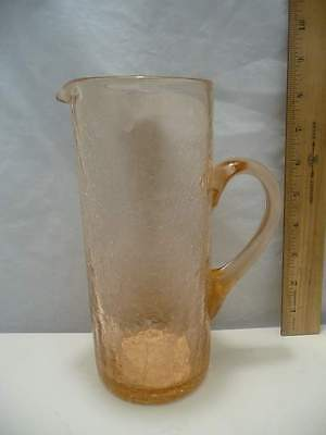 "Pink Crackle Glass Pitcher with Handle 8 1/4"" Tall"