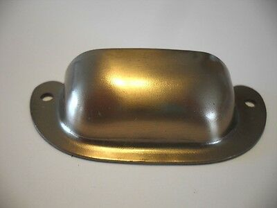 Vintage NOS Satin Brass Plated DRAWER Pulls BIN Cup Finger Style Cupboard