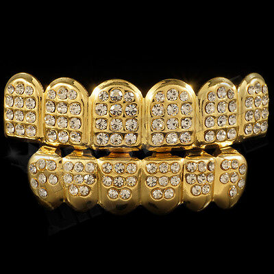 14K Gold Plated ICED OUT CZ Teeth GRILLZ Top Bottom Tooth Caps Hip Hop Bling NEW