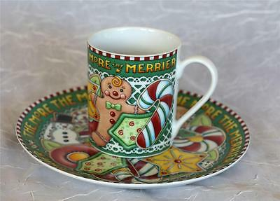 MARY ENGELBREIT MUG & SAUCER COOKIES FOR SANTA THE MORE THE MERRIER NEW IN BOX