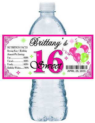 20 SWEET 16 SIXTEEN BIRTHDAY PARTY ~ WATER BOTTLE LABELS