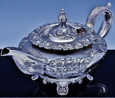 EXCEPTIONAL GEORGIAN ENGLISH / IRISH PROVINCIAL STERLING SILVER REPOUSSE TEAPOT