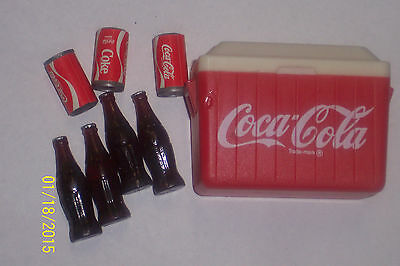 """Dollhouse Miniature Coca Cola Cooler Ice Chest With Bottles/Cans 2 1/4"""" X 1 3/4"""