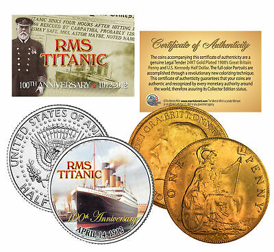 1900's Authentic TITANIC Great Britain *100th Anniversary* 2-Coin 24K UK/US Set