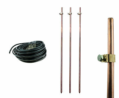 3x Earth Ground Rods Clamps + 15m Insulated Wire Electric Fence Energizer Stake