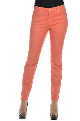 LES COPAINS BLUE New Woman Coral Red Casual Pants Trouser 5 Pockets Size 44 ita