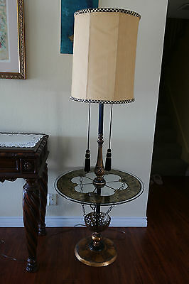 Vintage Moroccan Style Brass Floor Lamp w/ Big Round Glass Table (Pick Up Only)