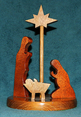 LOVELY HANDCRAFTED STAINED AND FINISHED WOOD NATIVITY! CLASSY!