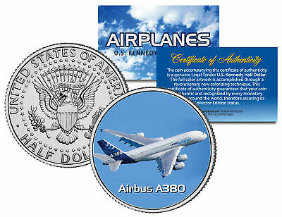 AIRBUS A380 * Airplane Series * JFK Kennedy Half Dollar Colorized US Coin