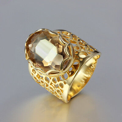 Vintage 18K Gold RINGS Oval Brown Wide Crystal Luxury Christmas Lady Party Gift