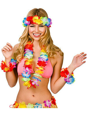 Hawaiian Set Hula Flower Neck Garland Lei Luau Aloha Beach Party Fancy Dress