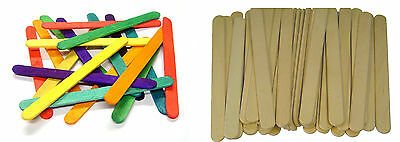 Large Jumbo NATURAL OR COLOURED Wooden Lollipop Ice Lolly sticks Kids Art Craft