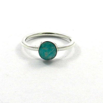 925 Sterling silver Bezel set Natural amazonite Facet Gemstone Plain band Ring
