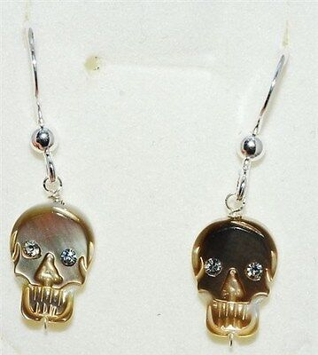 Mother of Pearl carved Skull inlay faceted crystal silver earrings