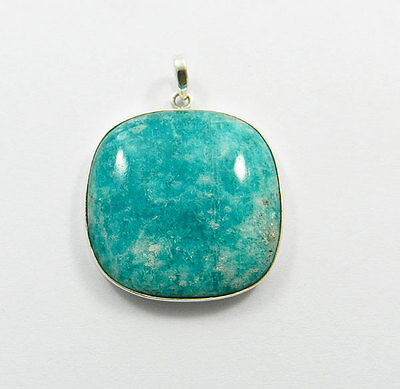 Big cushion Green amazonite natural gemstone 925 sterling silver plain pendant