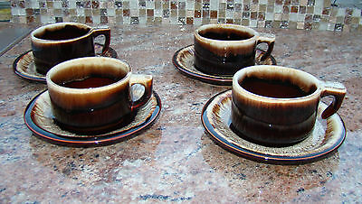 Vintage Pfaltzgraff Brown Drip Ceramic French Onion Soup Cup & Saucer Set of 4