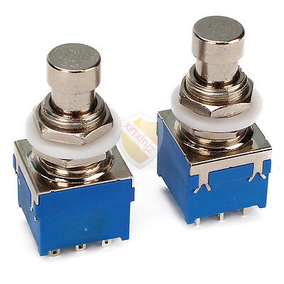 2PCS 9-pin 3PDT Guitar Effects Stomp Switch Pedal Box Foot Metal True Bypass